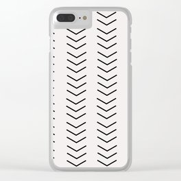 mudcloth pattern white black arrows Clear iPhone Case