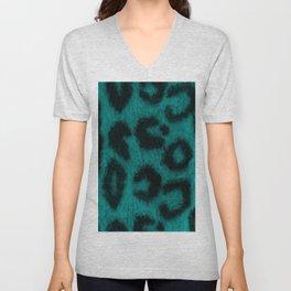 Spotted Leopard Print Turquoise Teal Unisex V-Neck