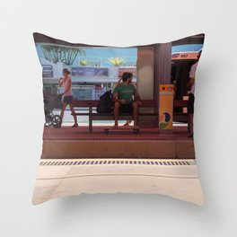 Broadbeach South Light Rail Throw Pillow