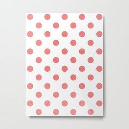 Polka Dots - Coral Pink on White Metal Print