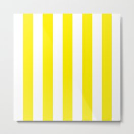Canary yellow - solid color - white vertical lines pattern Metal Print