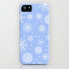 Snowflake white patten on a blue background iPhone Case