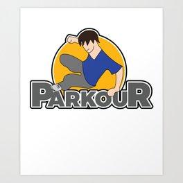 Awesome and Cool Parkour Tshirt Design Parkour Logo Art Print