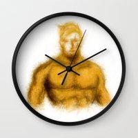 aquaman Wall Clocks featuring Aquaman by KitschyPopShop