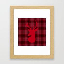 Red Plaid Deer Stag Design Framed Art Print