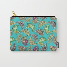 """""""Oro?"""" Cactus with Flower Teal Carry-All Pouch"""