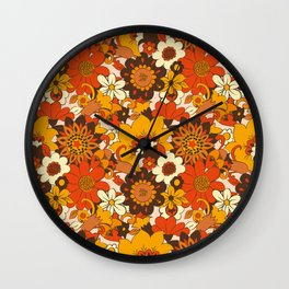 Retro 70s Flower Power, Floral, Orange Brown Yellow Psychedelic Pattern Wall Clock