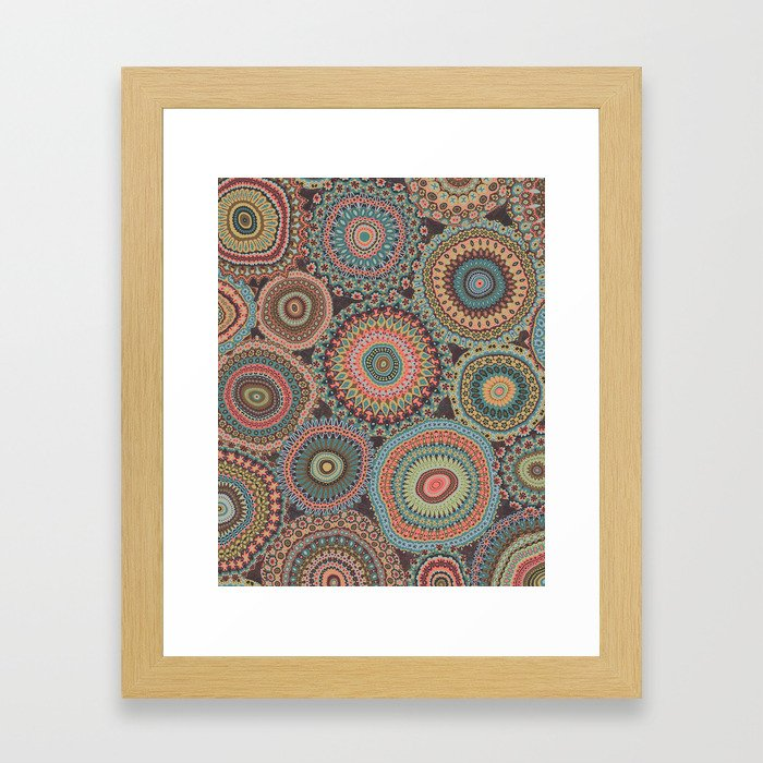 Boho Patchwork-Vintage colors Framed Art Print