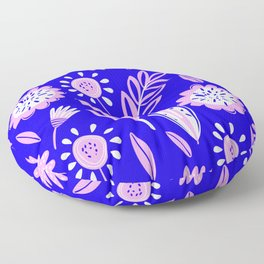 Party Pink Leaves & Flowers Pattern On Royal Blue Floor Pillow