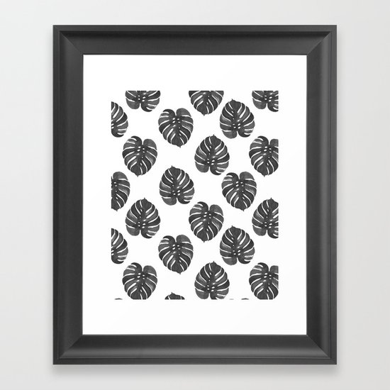Monstera house plant leaf black and white painting  hipster indoor house plant tropical garden   by charlottewinter