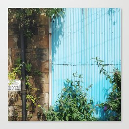 Blue Corrugated Metal and Plant Life Against a Glasgow Tenement Building Canvas Print