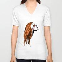 dia de los muertos V-neck T-shirts featuring Dia De Los Muertos by Caitlin Victoria Parker
