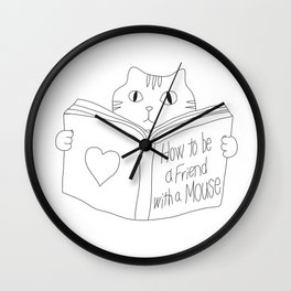 The Serious Cat and the Book Wall Clock