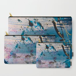 View from the Top: a pretty, minimal abstract piece in blue gold and white by Alyssa Hamilton Art Carry-All Pouch