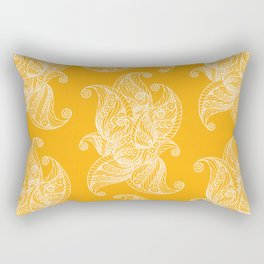 White and Yellow Feathers Rectangular Pillow