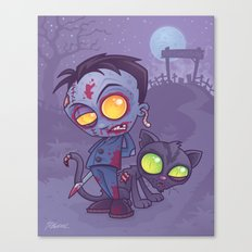 Pet Cemetery: Zombie Boy and his Zombie Cat Canvas Print