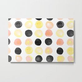 Peach + Coal Dots Metal Print