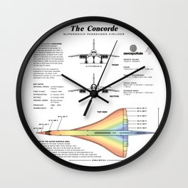 Concorde Supersonic Airliner Blueprint (white) Wall Clock