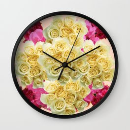 PINK WHITE RED ROSES PATTERN Wall Clock