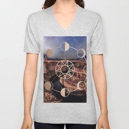 Mandala Southwest Desert Sun and Moon Phases Unisex V-Neck
