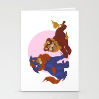 pit bull Stationery Cards featuring Pit Bull Shisa Guardians by AlliePets