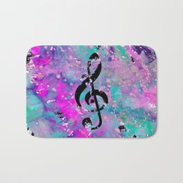 Artistic neon pink teal black watercolor classical music note Bath Mat