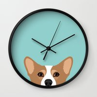 corgi Wall Clocks featuring Corgi by Anne Was Here