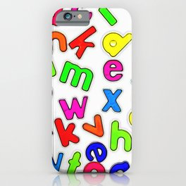 Jumbled up Multi Coloured Letters iPhone Case
