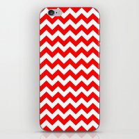 chevron iPhone & iPod Skins featuring Chevron (Red/White) by 10813 Apparel