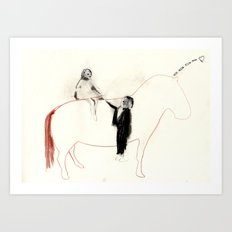 The horse senses it Art Print