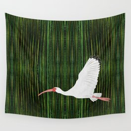 American White Ibis In Flight Wall Tapestry