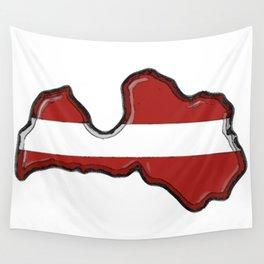 Latvia Map and Latvian Flag Wall Tapestry