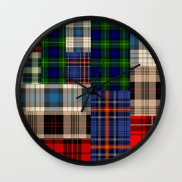 Crazy Plaid #2 Wall Clock