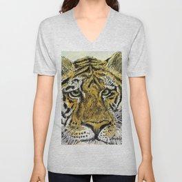 Green Eyed Tiger Animal Art Unisex V-Neck