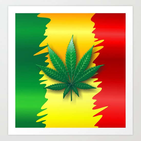 Cannabis Leaf on Rasta Colors Flag Art Print