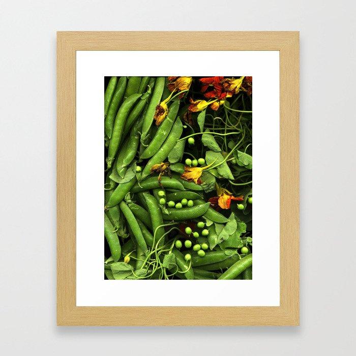 Nasturtiums and Peas Framed Art Print