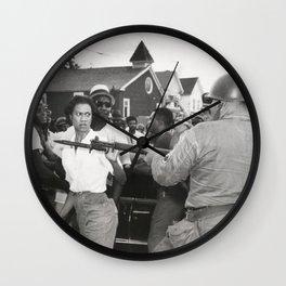 Gloria Richardson pushing a National Guardsman's bayonet, 1963 Wall Clock