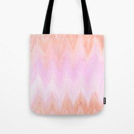 Geometric hand painted coral pink watercolor ikat chevron Tote Bag