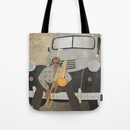 Trombone musician and his 1946 Dodge pickup truck Tote Bag