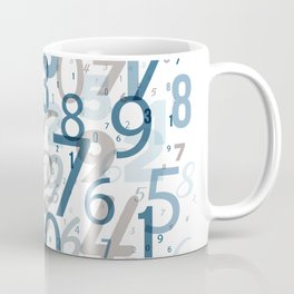 All the numbers, blue and taupe Coffee Mug