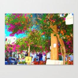 Purple flowers in Mykonos Canvas Print