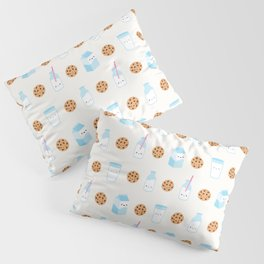 Milk and Cookies Pattern on Cream Pillow Sham