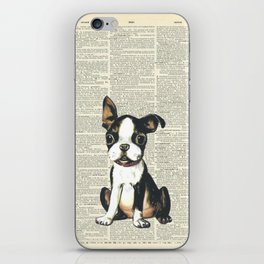 Boston Terrier Vintage Puppy iPhone Skin