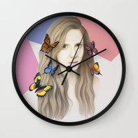 karen hallion Wall Clocks featuring Karen by Anya Timofeeva