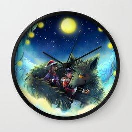 Snowy Wolf Wall Clock