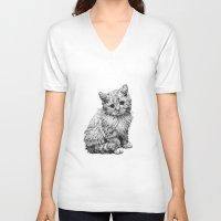 kitten V-neck T-shirts featuring Kitten by Molly Morren