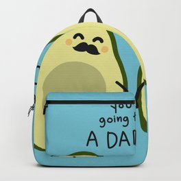 Couple pregnant avocado cartoon doodle style Backpack