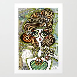 Positive Art and Girls with Owls Art Decor Collection: Sophie Art Print