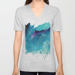 Galaxy Series [1]: an abstract mixed media piece in blue, purple, white, and gold Unisex V-Neck