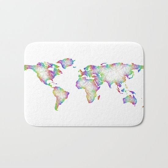 Rainbow World map Bath Mat